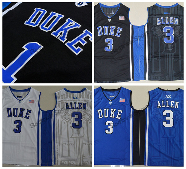 Mens Duke Blue Devils Garyson Allen College Basketball Jersey Cheap Blue Black 3 Garyson Allen Stitched Basketball Shirts S-XXL