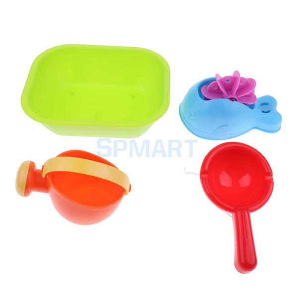 Set Of 4pieces Children's Water Bath Beach Sand Garden Toy Tool Kit Kid Outdoor Sandpits Play Toy Waterwheel Watering Can
