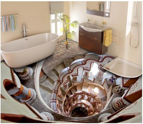 Großhandel Kundenspezifische 3D PVC Tapetenboden Malerei Wandpapier  Wasserdicht Selbstklebende Bodenbelag Wandaufkleber Badezimmer Super Cool  Boden ...