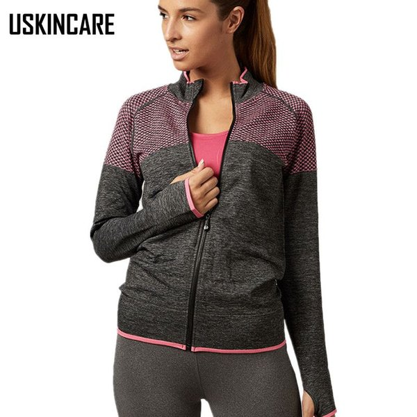 Wholesale-Women Ruuning Jacket Outdoor Coat High Collar Anti-pilling Anti-shrink Quick Dry Fitness Gym Jackets Female