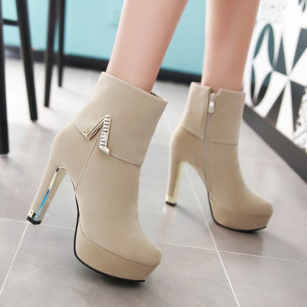 Plus Size 34 To 40 41 42 43 Fashion Women Wedding Boots Red Beige Black High Heels Shoes Synthetic Suede