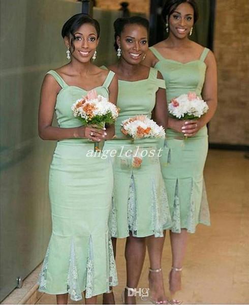 Mint Green Mermaid Bridesmaid Dresses 2018 Spaghetti Knee Length Garden Country Beach Short Wedding Guest Gowns Maid Of Honor Dress