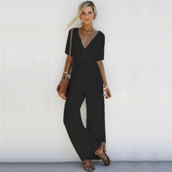 Casual Women Jumpsuit Sexy V Neck Romper Short Sleeve Long Jumpsuit Wide Leg Pants Vintage Solid Party Overalls Rommers Talever