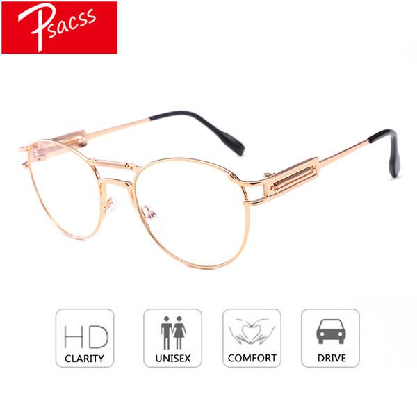 Psacss 2018 Round Metal Punk Sunglasses Women Men Vintage Sunglass Brand Designer Fashion Glasses Mirror Lens Top Quality Oculos