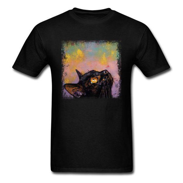 Fixed Gaze 2018 Männer Schwarz T-shirt Katze Kunst Malerei Kleidung Casual Sommer Tops T-stücke Tier Haustier Druck Student T-shirt
