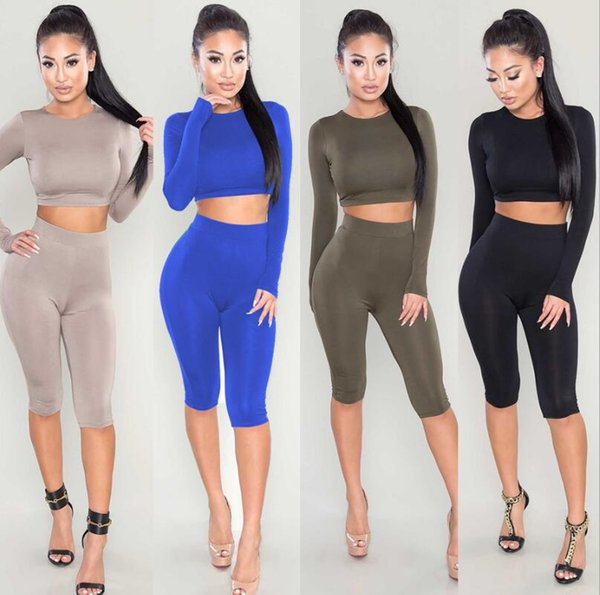 Women's Tracksuits Two piece Open navel suit Long sleeve crop top and shorts set Color block women 2 piece pants sets free shipping