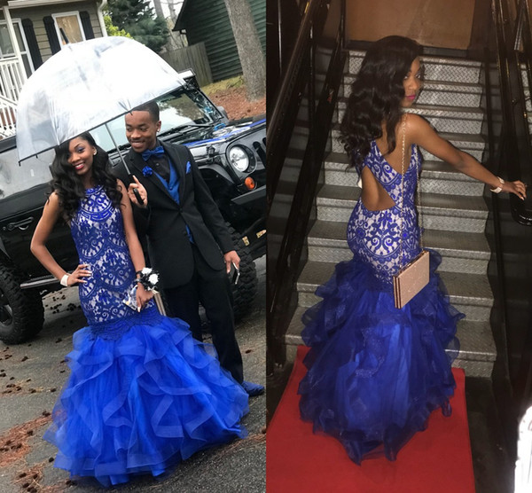 Royal Blue Halter Fashion Mermaid Prom Dresses 2018 Lace Applique Tulle Sleeveless Hollow Back Evening Party Dresses Couple Wear