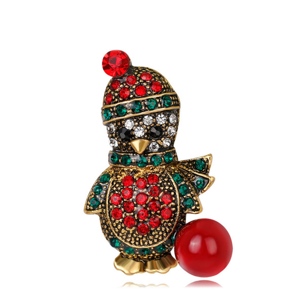 0b313c8224 Fashion Vintage Rhinestone Penguin Brooch Lovely Cartoon Animal Brooch Pins  Popular Christmas Ornament Gifts for Men Women