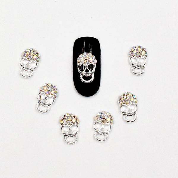 10pcs Maniküre Farbe Diamant Schädel 3D Nail Art Dekoration, Legierung Nagel Charms, Nägel Glitter Strass Nail Supplies SS298