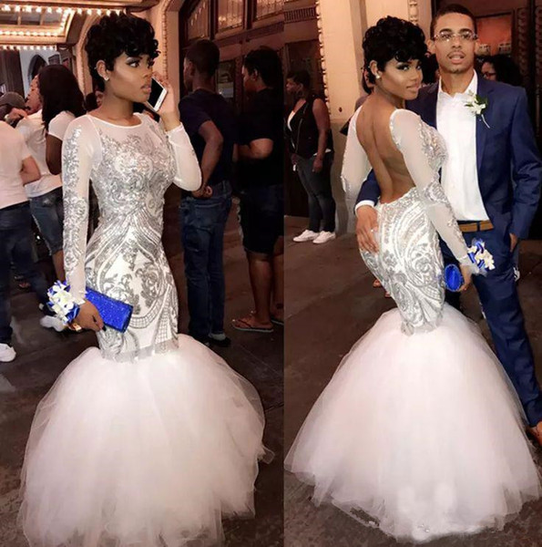 Charming Backless Sequined applique Prom Dresses With Long Sleeves 2018 Modest Jewel Mermaid African Dubai Trumpet Girls Evening Gown