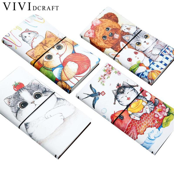 Vividcraft Cartoon Cat PU Leather Cover Planner Notebook Diary Book Exercise Composition Binding Note Notepad Gift Stationery