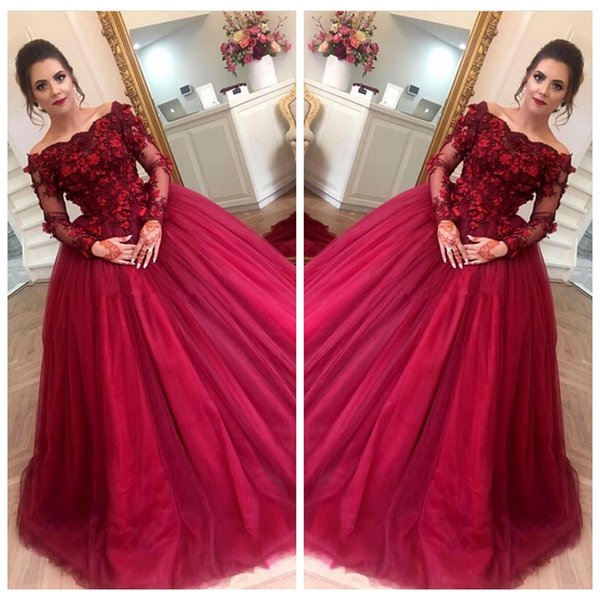 2019 Bateau Neck Vintage Burgundy Prom Ball Gowns Lace Appliques Long Sleeves Formal Party Dress Tulle Sweep Train Plus Size Evening Dress