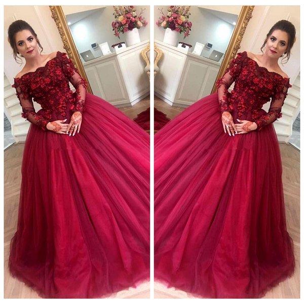 2019 Bateau Neck Vintage Borgogna Prom Ball Gowns Appliques in pizzo maniche lunghe Vestito da partito formale Tulle Sweep Train Plus Size Abito da sera
