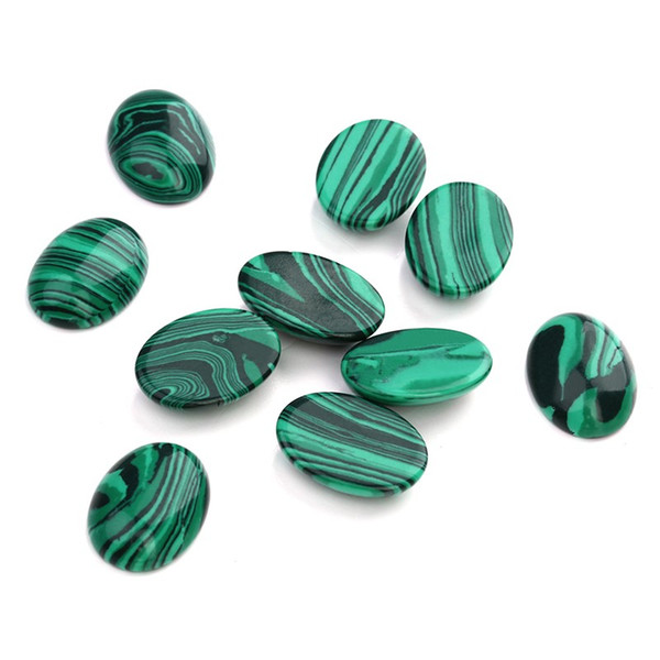 10pcs/lot 10*14/13*18/18*25mm Malachite Cameo Cabochon Natural Stone Beads Diy Cabochon Setting Findings Jewelry Making F5019