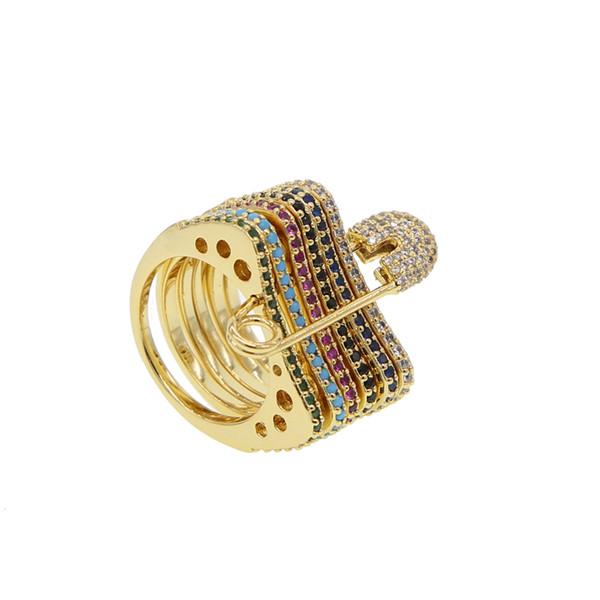 ganze sale6 Farben CZ Sicherheitsnadel Ring für Frauen Eleganz Schmuck Hochzeit Geschenk Gold Farbe Femme Bijoux Street Fashion Ring Allgleiches Geschenk
