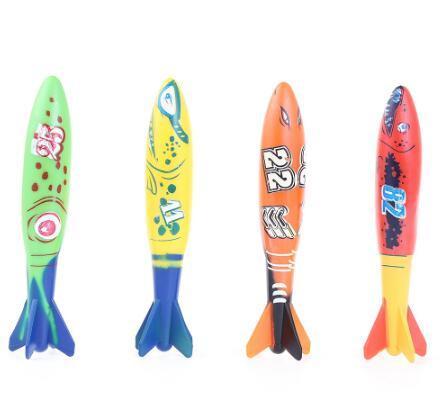 Torpedo Rocket Toy Torpedo Dive Swim Sticks Piscina Vasca da bagno Vasca da bagno Divertimento Nuoto Torpedo scivola sotto l'acqua giocattolo per bambini