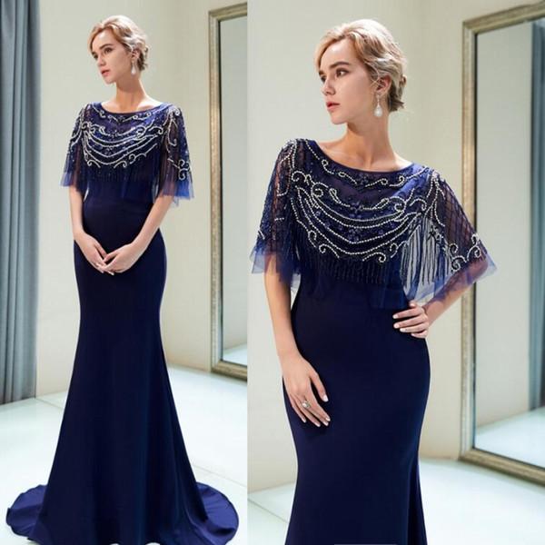 Темно-синий мать невесты платье кружева аппликации из бисера Русалка платья матери шифон развертки поезд женщины выпускного вечера вечернее платье на заказ
