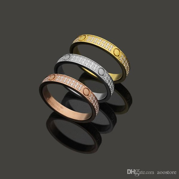Fashion 316L Titanium Steel Full crystal 18K gold plated Gold screw love Ring For Women wedding Rings Rose Gold Fine jewelry witdh 4mm