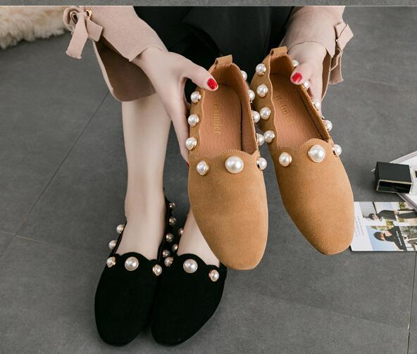 Women's shoes New Genuine Leather pearl Square head flat Shallow mouth Pedal Comfortable Pure color Set foot Women's shoes Free shipping