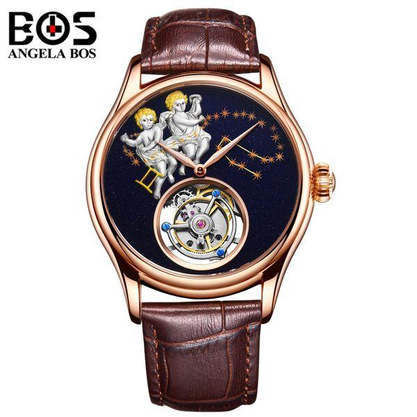 ANGELA BOS  Watch Men Waterproof  Mechanical Automatic Wristwatch Mens Gold GEMINI Reloj 2018 Relogio Masculino