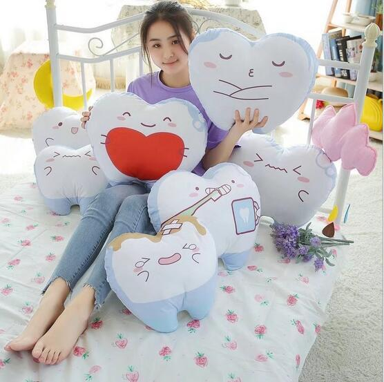 New Kids Cushion Teeth Expression Creative Children Gift Stuffed Home Decoration Soft Pillow Cushions Christmas Gifts