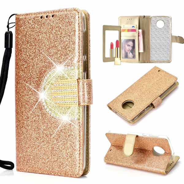 For MOTO G6 Play E5 Plus Galaxy (A7 J6 J4 Plus) 2018 Sparkle Wallet Leather Case Bling Diamond Mirror Glitter Sparkly Flip Cover Pouch Purse