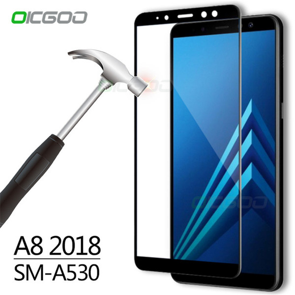 2018Full Cover Tempered Glass For Samsung Galaxy A3 A5 A7 2016 2017 Screen Protector For Samsung A8 Plus 2018 Protective Protector For