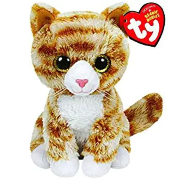 "Pyoopeo Ty Beanie Babies 6"" 15cm Booties the Tabby Cat Plush Regular Big-eyed Stuffed Animal Collectible Doll Toy with Heart Tag"