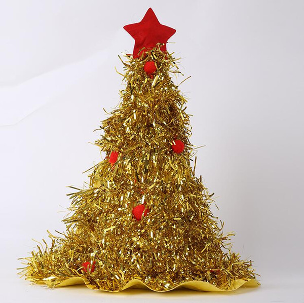 Tinsel Christmas Tree.2019 Tinsel Christmas Tree Hat Party Dress Up Cap Christmas West Straw Decorations Hat For Home Decoration Gold Silver Green From Wenjingcomeon 1 53