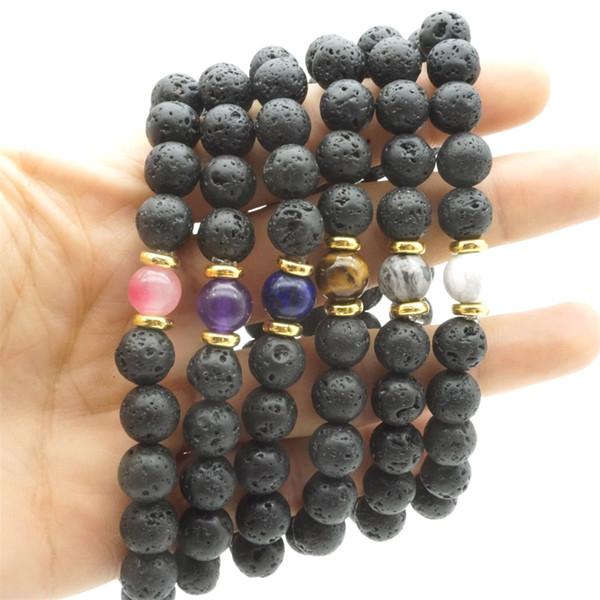 Gold Silver Natural Stone Beads 8mm Black Lava Stone Beaded Bracelet Essential Oil Diffuser Bracelet Volcanic Rock Hand Strings