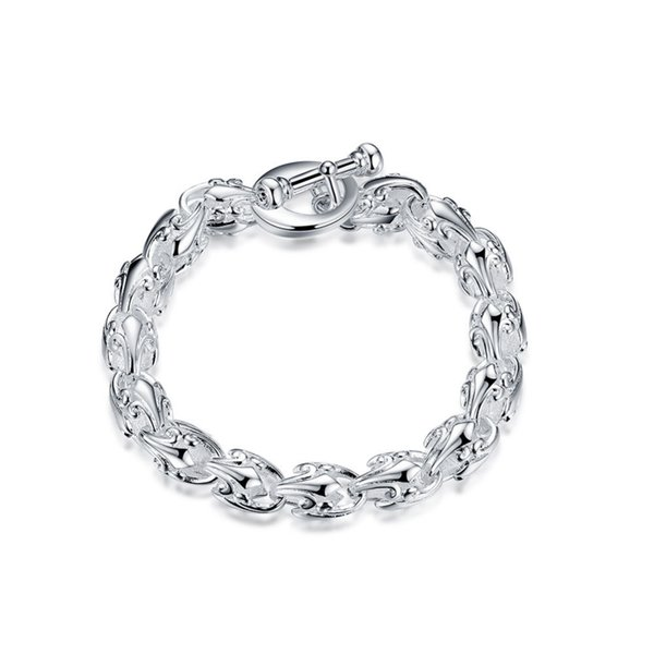 Factory prtop quality 925 silver&Stamped 925 hollow cirlce Links TO clasp thick chains Bracelet Women wedding jewerly