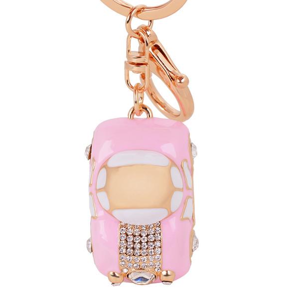 New Creative Jewelry Rhinestone Enamel Cute Small Car Gold Color KeyChains Car Keyring Women Girls Bag Pendant