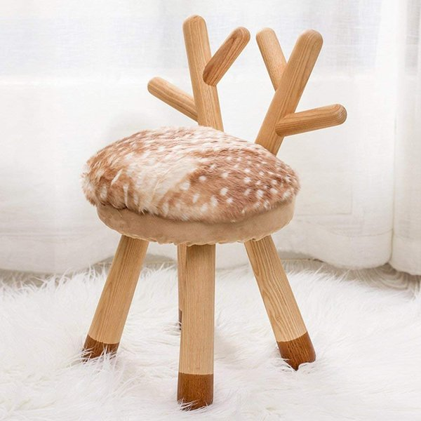 Enjoyable 2019 Childrens Stool Solid Wood Round Chair Backrest Lovely Cartoon Fawn Animal Change Shoes Learning Bench Creative Household Stool From Daisy433 Dailytribune Chair Design For Home Dailytribuneorg