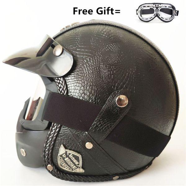 Open Face Vintage Motorcycle Helmet PU Leather Harley Helmets 3/4 Motorcycle Chopper Bike Helmet with Goggle Mask M(57-58cm)