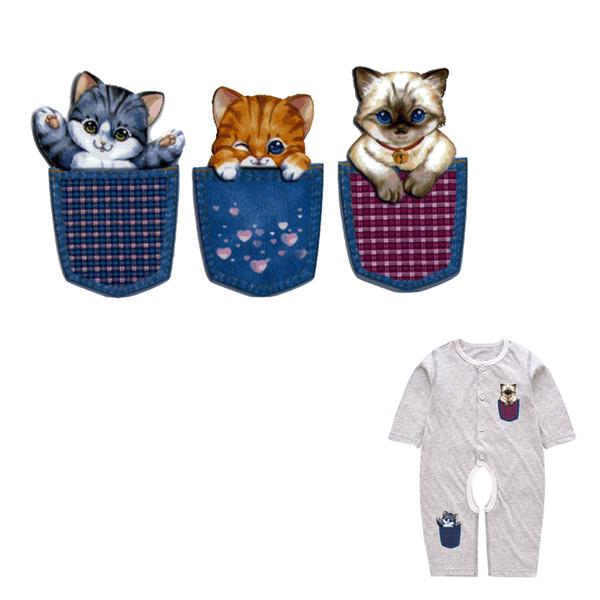Nette Tasche Katzen Serie Wärmeübertragung Patches für Kinder Haushalt Aufbügeln Patch Transfers DIY Dekoration Appliqued für Baby Kleid