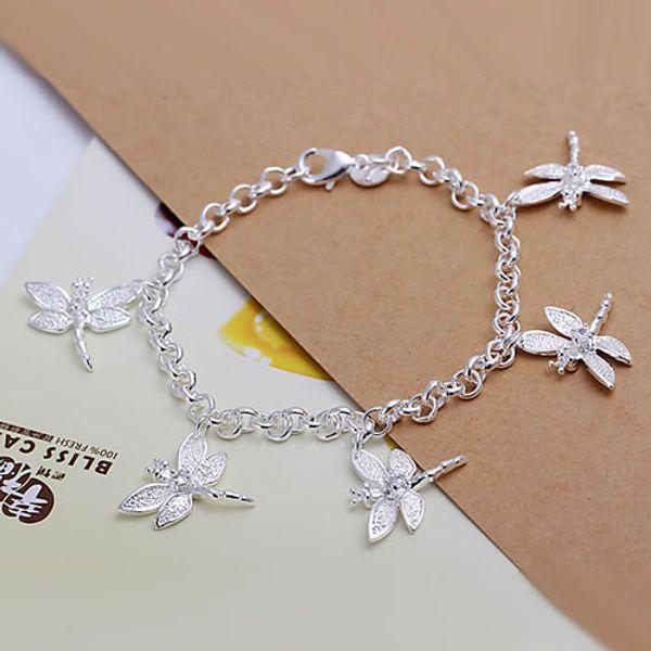 Fine 925 Sterling Silver Bracelet for Women Men,Fashion 925 Silver Dragonfly Chain 8inch Bracelet Italy 2018 New Arrival Xmas Best Gfit AH92