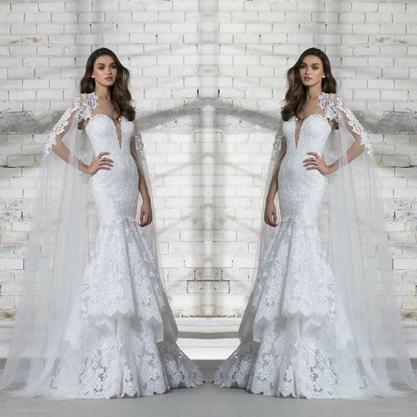 2018 Pnina Tornai Wedding Dress Full Lace Appliques Deep V Neck Tiered Skirts Sequins Design Bridal Gowns With Long Wrap