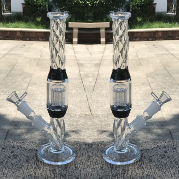 33cm Thick Glass Bongs Water pipes Bowl Joint 18.8mm arm tree percolator Straight In Stock glass bongs thick Two Fuction hookahs