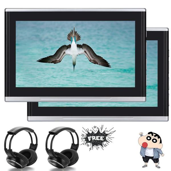 "10.1"" Double Black Multimedia Monitor Super-thin Headrest Monitors Car DVD Player/USB/HDMI/AUX+32 bit Game discs+Remote Control+IR headphone"