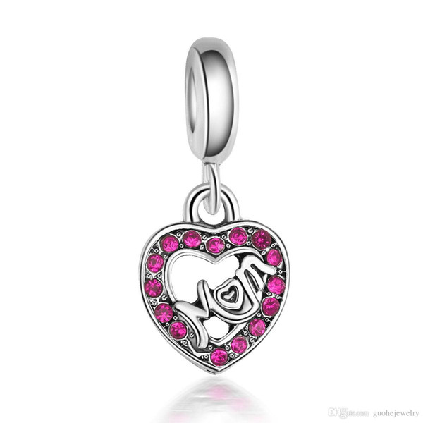 New design Diy jewelry findings Heart-shaped Mom Pendant Charms Bracelets for Mother's Day gift free shipping