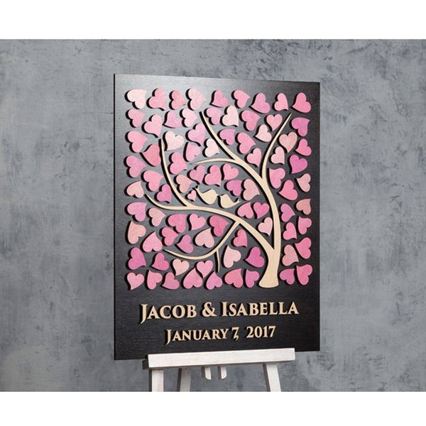 Custom 3D Wedding Guest Book,Personalized Tree Guestbook Alternative Wood,Unique Pink Guestbooks Ideas,Tree Of Life Guestbook