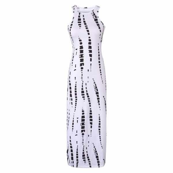 Sleeveless Long Dress Striped Print Maxi Dresses 2019 Casual Dress Cut Out Bodycon Summer Celebrity Beach Party Dresses J3207