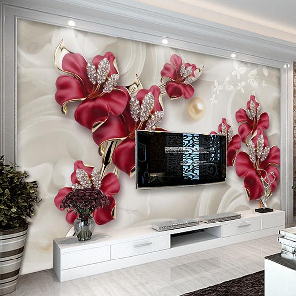 Papier peint personnalisé pour murs 3 D Style européen moderne Art mural diamant Bijoux Fleur Salon TV fond Photo Fond d'écran