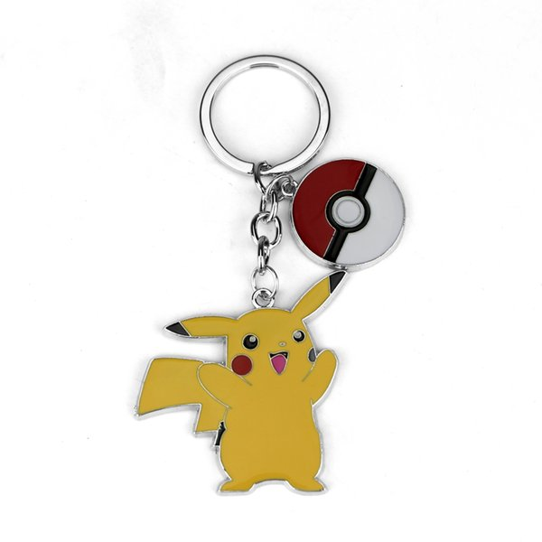 Movie Jewelry Keychain Cute Pikachu Key Finder Colorful Enamel Cartoon Key Rings Holder For Women Men And Children