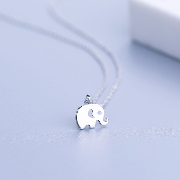 New Arrival 925 Silver Elephant Pendant Necklace Cute Animal Statement Chain Neckalce For Women Collares Jewelry Gift