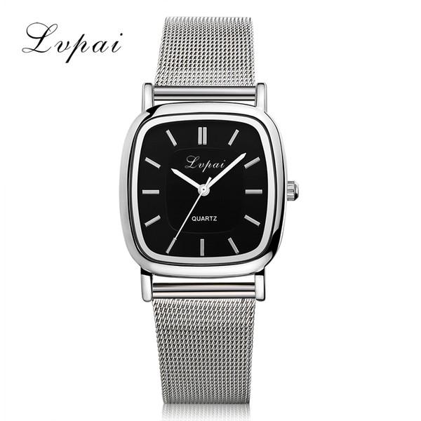 Lvpai Luxury Fashion Watch Women Stainless Steel Black Square Dial Casual Bracelet Quartz Wrist Watches Montre Femme LP164