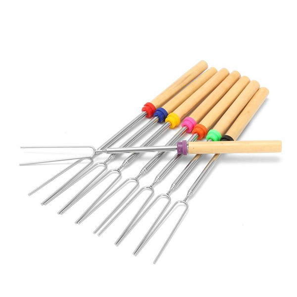 cariel 8 Pcs Barbecue Bonfire Camping Tools Bake Fork Forks Sticks Needle Spit TOO BBQ Roast Stainless Steel Fork Wooden Handle wn061B
