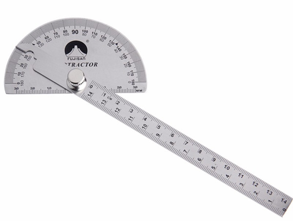 best selling Freeshipping 0-180 Degree Angle Ruler Stainless Steel Round Head Rotary Protractor 145mm Adjustable Angle Finder Measure Tools