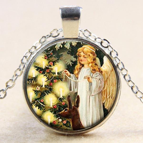 Мода цветок феи фото ожерелье Ангел кулон стекло ювелирные изделия ожерелье старинные ювелирные изделия подарок YP5102