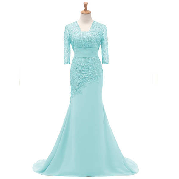 da9a7c92276 2018 fengyudress Light Blue Lace Mother Of The Bride Dresses With Jacket  1 2 Sleeves